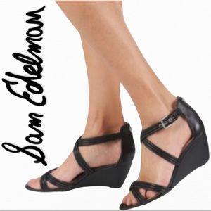 Sam Edelman Sloan Wedge Heels Sandals Black 7.5